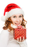 Attractive woman in Christmas presents gift Royalty Free Stock Images