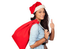Attractive woman with Christmas saying Ok Royalty Free Stock Photography
