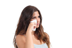 Free Attractive Woman Cleaning Her Face With A Baby Wipe Stock Photography - 32058722