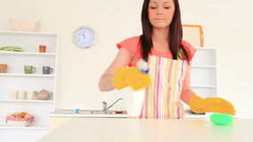 Attractive woman cleaning the kitchen Royalty Free Stock Photos