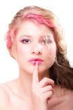 Attractive woman with colorful makeup Royalty Free Stock Photos