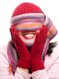 Attractive Woman With Colorful Scarf Over Eyes Stock Photos