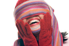 Attractive Woman With Colorful Scarf Over Eyes Royalty Free Stock Image