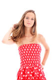 Attractive woman in colourful sundress Royalty Free Stock Photography