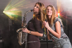 Attractive woman on concert Stock Image