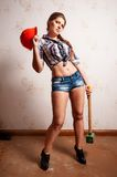 Attractive woman on construction site Royalty Free Stock Photo