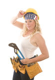 Attractive woman contractor  tools Stock Image