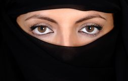 Attractive woman covered by a veil Royalty Free Stock Photography