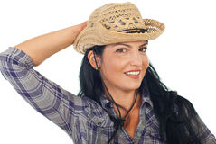Attractive woman with cowboy hat Royalty Free Stock Photography