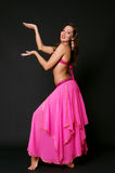 Attractive woman dancing belly dance Royalty Free Stock Images