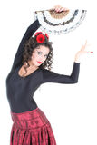 Attractive woman dancing with fan Royalty Free Stock Image