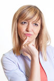 Attractive woman with dark eyes solving a problem Royalty Free Stock Images