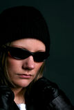 Attractive woman in dark sunglasses Royalty Free Stock Images
