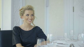 Attractive woman on a date with her boyfriend talking and smiling. stock video footage