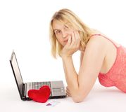 Attractive woman dating over the internet Stock Photography