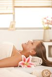 Attractive woman in day spa Royalty Free Stock Images