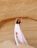 Attractive woman in the desert Stock Photo
