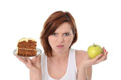 Attractive Woman Dessert Choice Junk Cake or Apple Stock Image