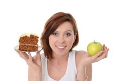 Attractive Woman Dessert Choice Junk Cake or Apple Stock Photos