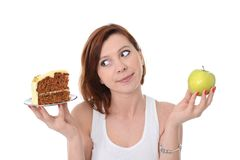 Attractive Woman Dessert Choice Junk Cake or Apple Stock Images