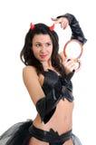 Attractive woman in devil costume Stock Photo