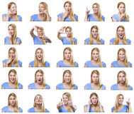 Attractive woman with different gestures and emotions. Attractive woman with different gestures and emotions isolated on white. Set of pictures Royalty Free Stock Image