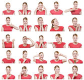 Attractive woman with different gestures and emotions. Royalty Free Stock Photo