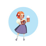 Attractive woman in dirndl with beer and pretzel Stock Photos