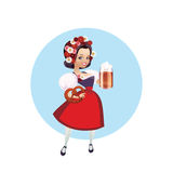 Attractive woman in dirndl with beer and pretzel Royalty Free Stock Photo