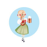 Attractive woman in dirndl with beers Stock Photos