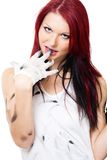 Attractive woman with dirty clothes Stock Images