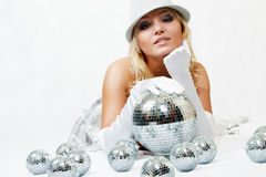 Attractive woman with disco ball Royalty Free Stock Photo