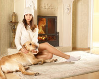 An attractive woman with a dog Royalty Free Stock Photo