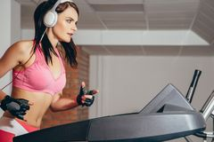 Attractive woman doing cardio exercises, running on treadmills in the gym Royalty Free Stock Photos