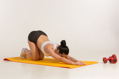 Attractive woman doing exercises. Brunette fit body on yoga mat stock image