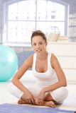 Attractive woman doing exercises on floor Stock Image