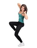 Attractive woman doing fitness over white Royalty Free Stock Photography