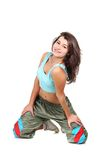 Attractive woman doing fitness over white Royalty Free Stock Images