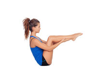 Attractive woman doing pilates exercises Royalty Free Stock Photos
