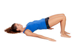 Attractive woman doing pilates exercises Stock Image