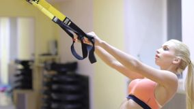 Attractive woman doing suspension training with fitness straps stock video