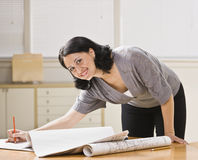 Attractive woman with drawings. Royalty Free Stock Photos