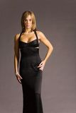 Attractive woman in dress. Attractive woman in black evening dress Royalty Free Stock Images