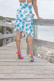 Attractive woman in dress and high heels outdoor Stock Images