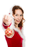 Attractive woman dressed as Santa Royalty Free Stock Photography