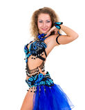 Attractive woman dressed in a blue costume Royalty Free Stock Photos