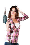 Attractive woman with a drilling Stock Photos