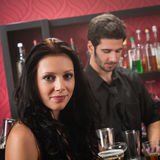 Attractive woman drink at cocktail bar Royalty Free Stock Photo