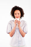 Attractive woman drinking a cup of coffee. Attractive young woman drinking a cup of coffee Stock Image