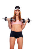 Attractive woman with dumbbells training Royalty Free Stock Photo
